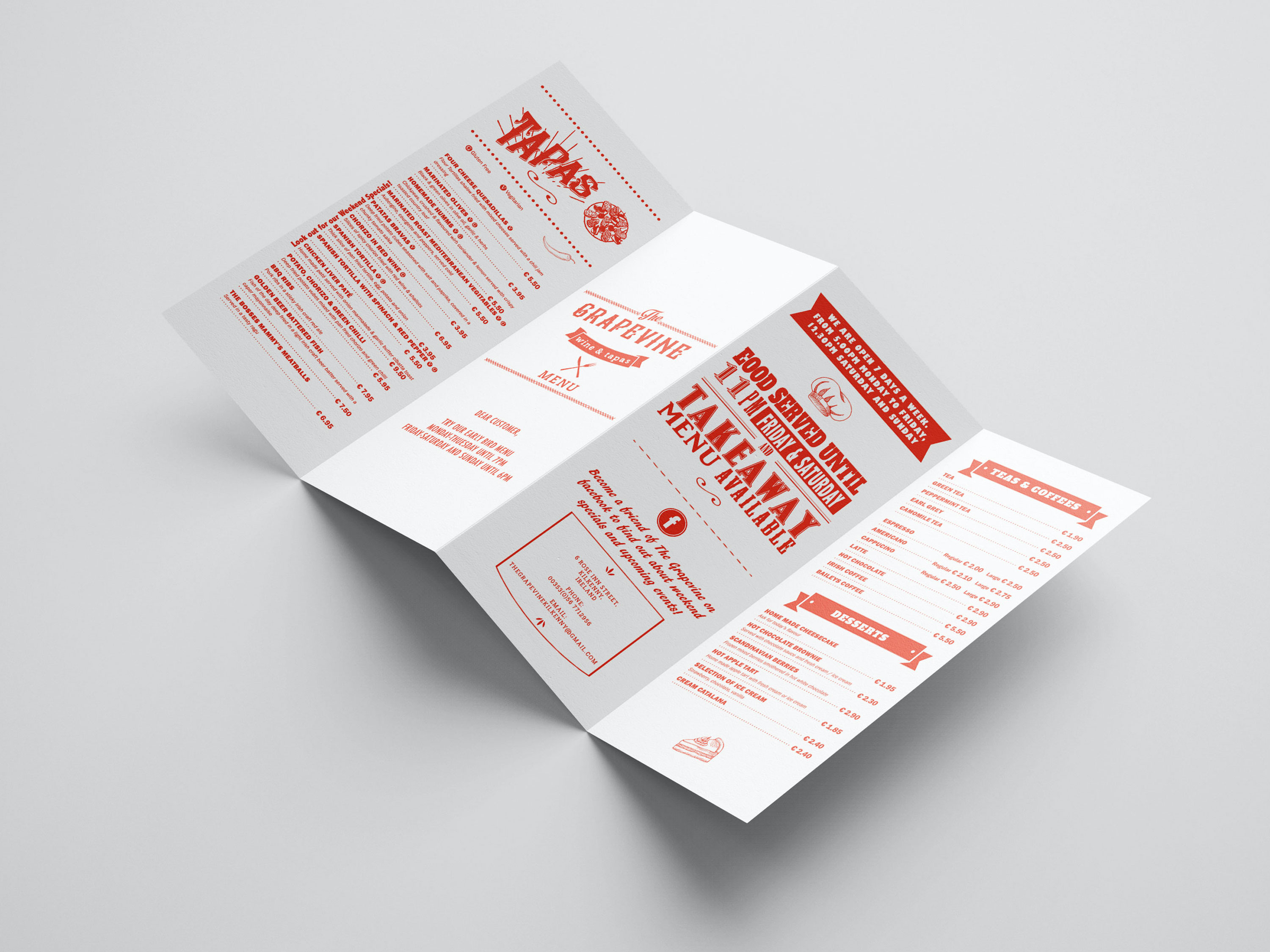 Tareboda design -  Takeaway Menu Kilenny